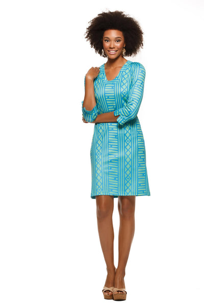 Julia womens three quarter sleeve u-neck dress in green and blue stripe by Rulon Reed front view