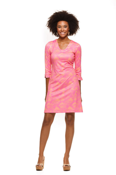 Julia Dress in Pink and Orange Geo - Rulon Reed