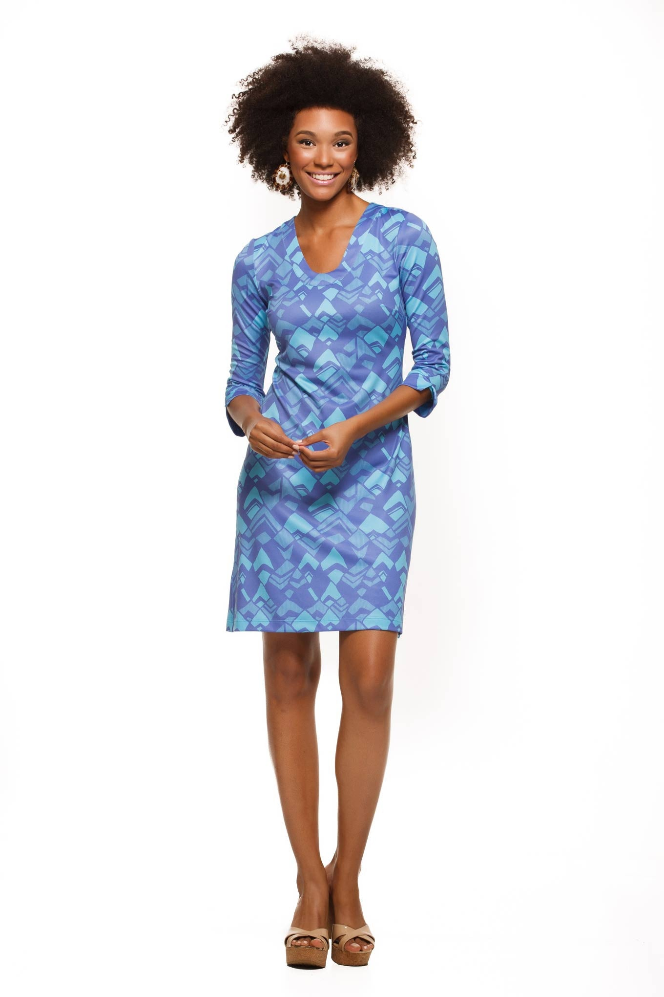 Julia-womens-three-quarter-sleeve-u-neck-dress-in-purple-and-blue-geo-print-front-view-by-Rulon-Reed