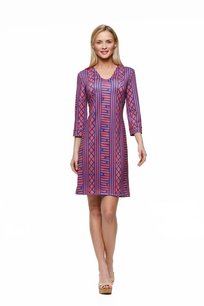 Julia: 3/4 Sleeve red and blue stripe women's dress