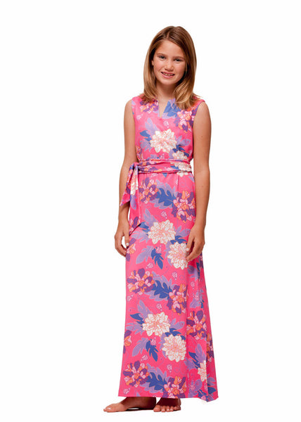 Girl's Maxi Dress in Pink Hawaiian by Rulon Reed