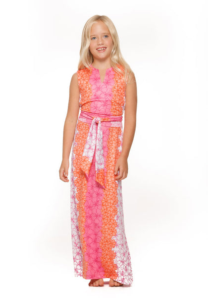 Katie Maxi Dress for girls in pink and orange hibiscus print
