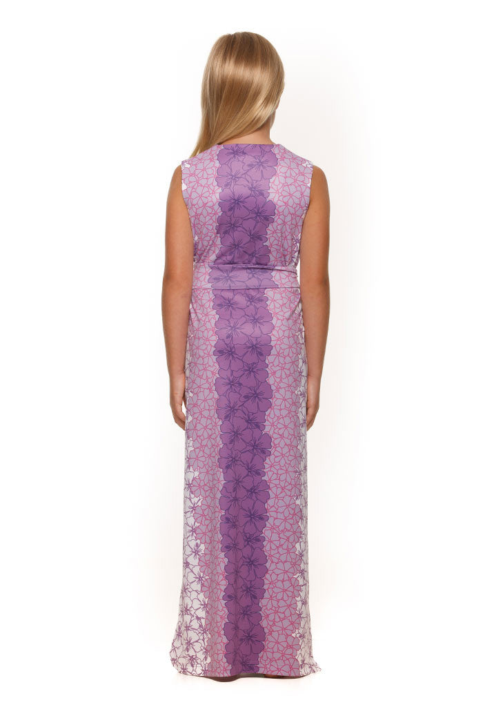 Katie Dress in Green and Purple Hibiscus - Rulon Reed