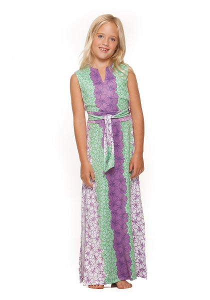Girls Maxi Dress by Rulon Reed in Purple and Green Hibiscus flowers