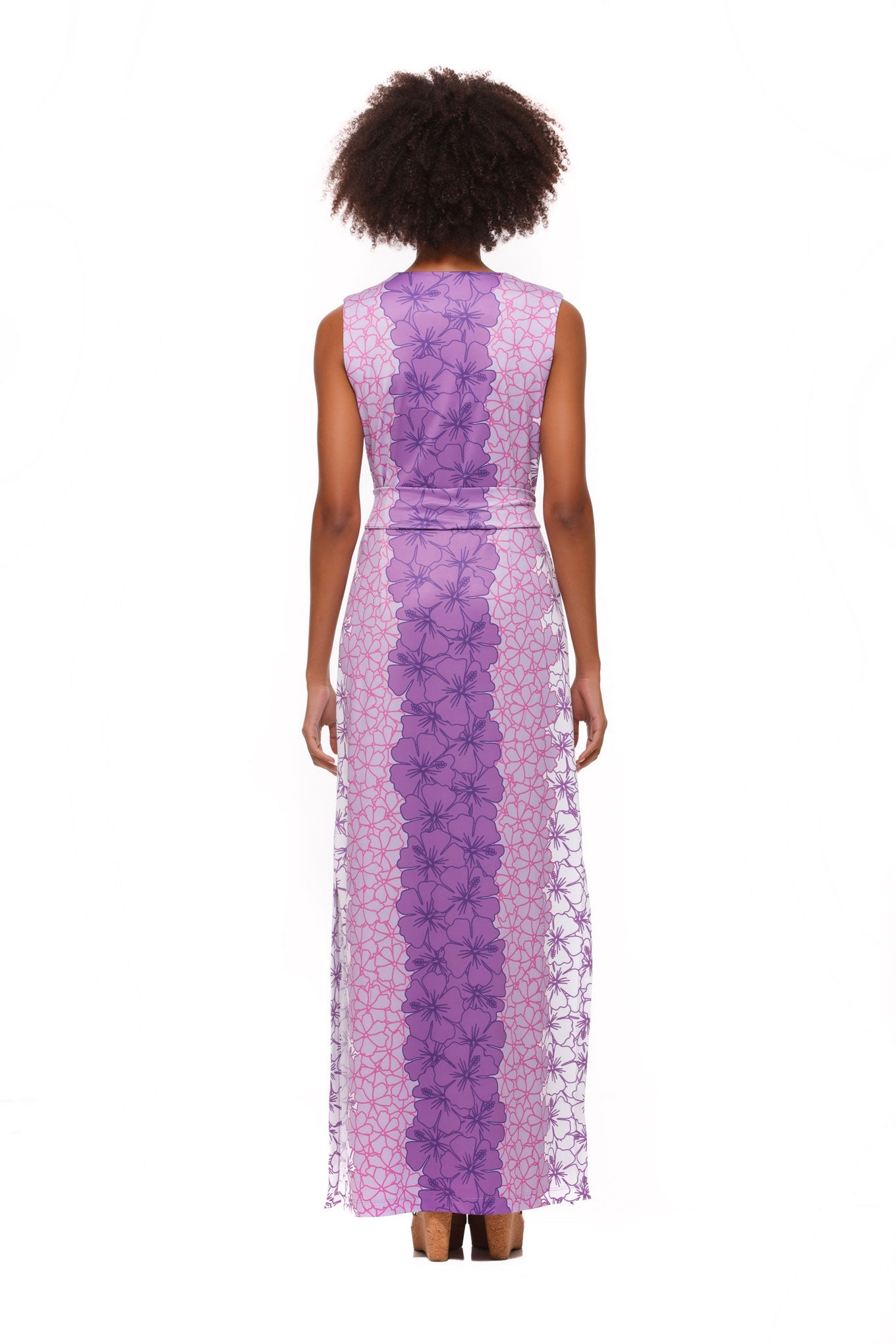 Morgan Maxi Dress in Green and Purple Hibiscus - Rulon Reed