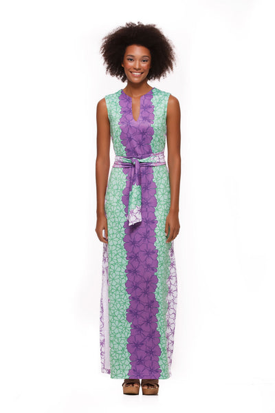 Morgan-womens-sleeveless-maxi-dress-in-green-and-purple-hibiscus-by-Rulon-Reed-front-view