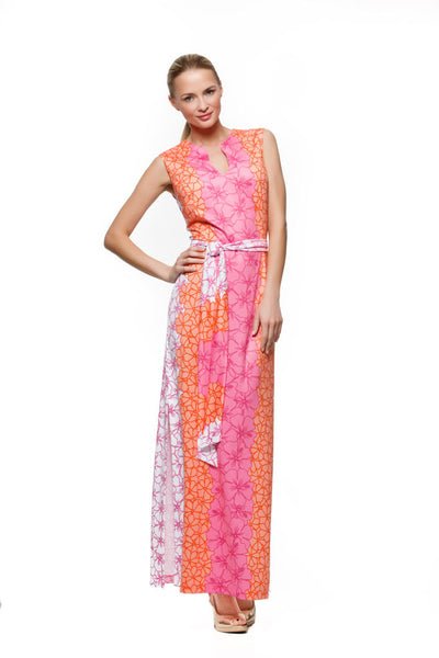 Morgan womens sleeveless maxi dress in pink and orange hibiscus by Rulon Reed front view