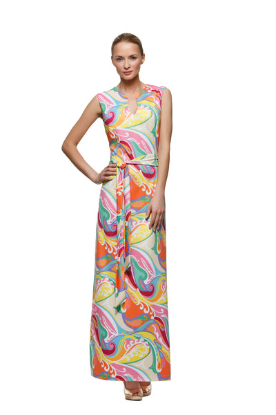 Morgan womens sleeveless maxi dress in wave by Rulon Reed front view