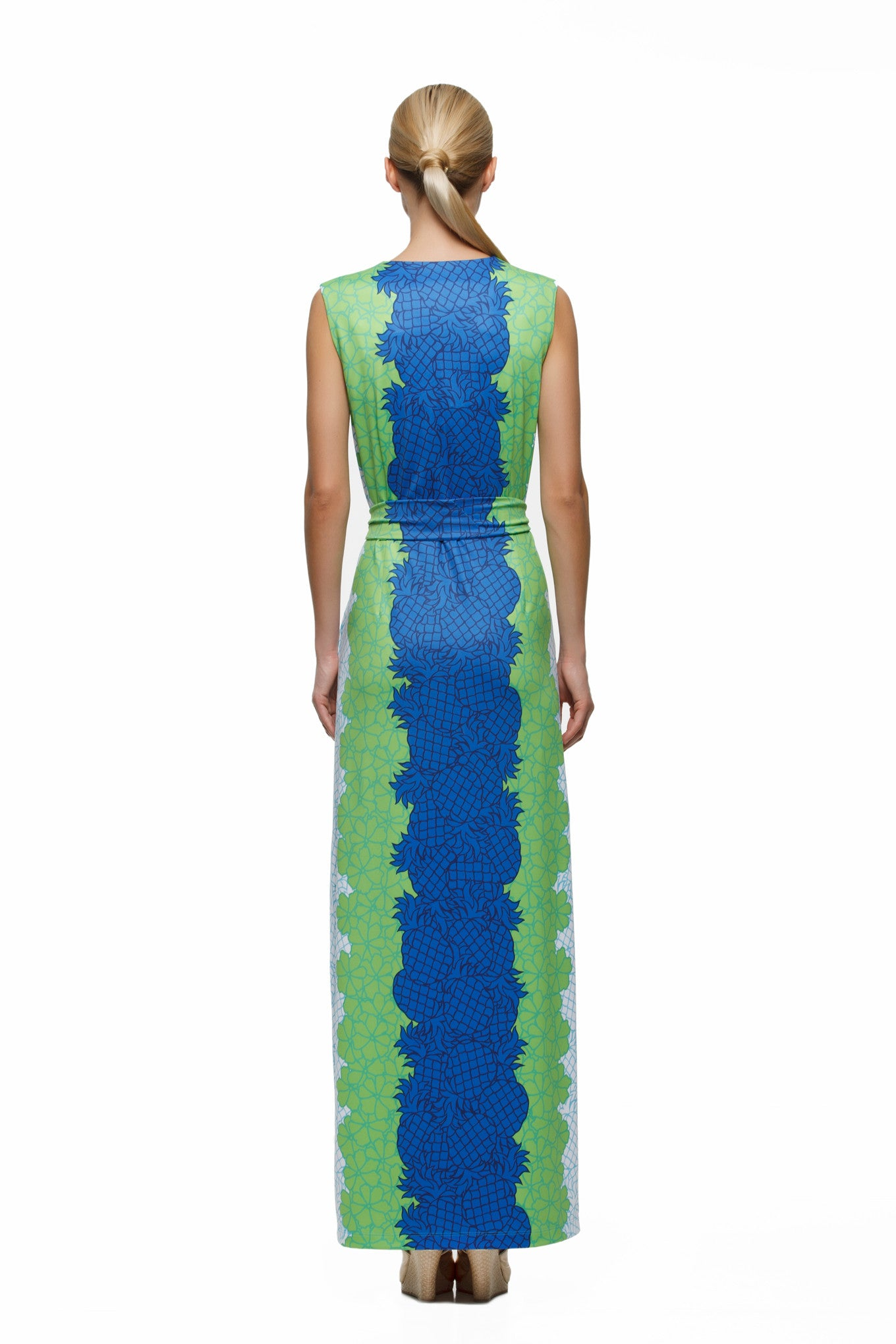 Morgan-womens-sleeveless-maxi-dress-with-matching-belt-in-pineapple-print-by-Rulon-Reed-rear-view