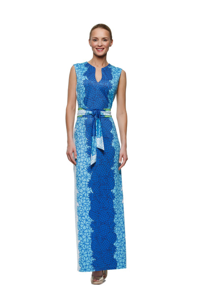 Morgan-womens-sleeveless-maxi-dress-with-matching-belt-in-pineapple-print-by-Rulon-Reed-front-view