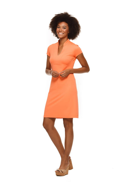 Parker Cap Sleeve Womens' Dress in Orange by Rulon Reed front view