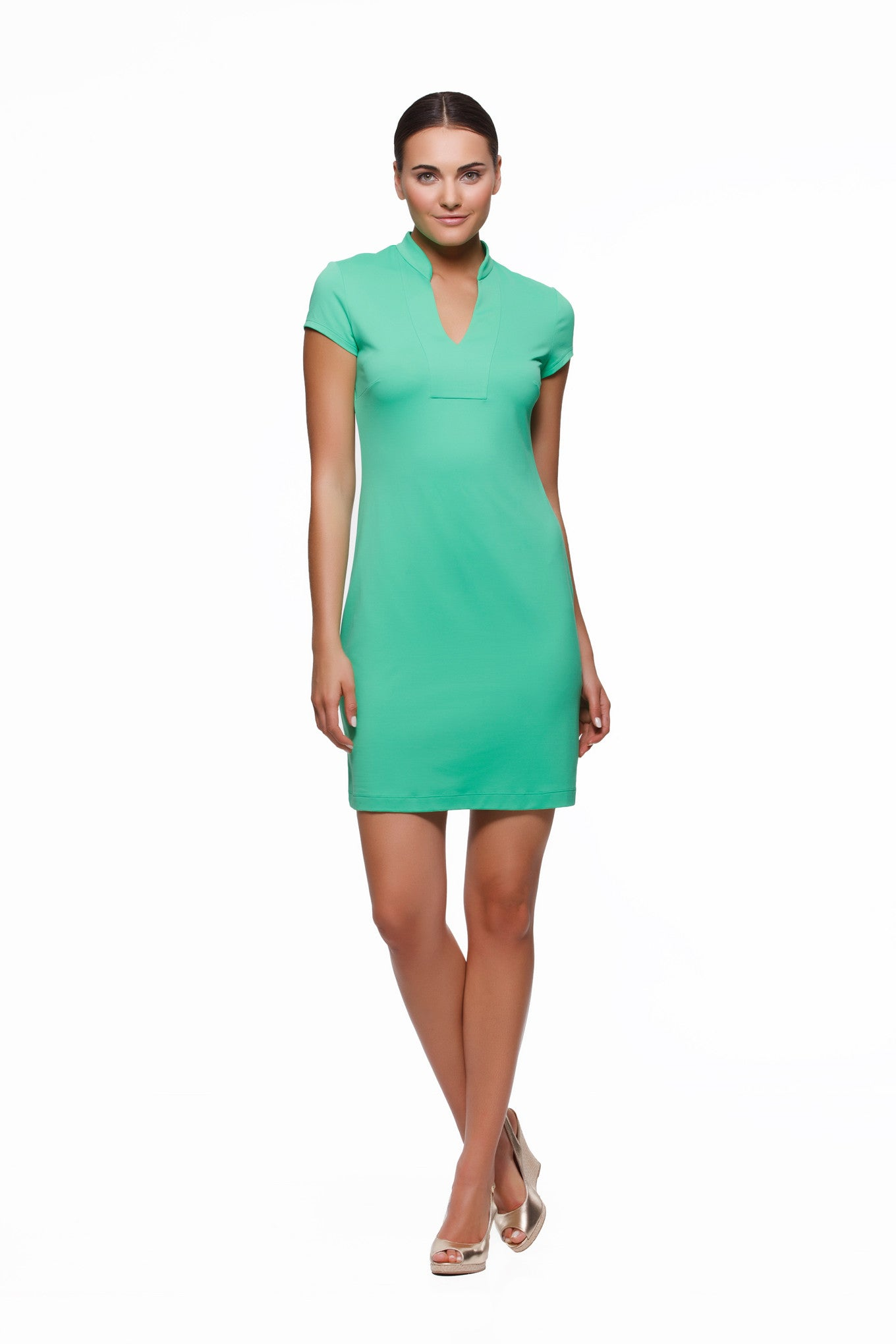 Wrinkle Resistant Travel Dress: Green and Navy Color Block – Rulon Reed