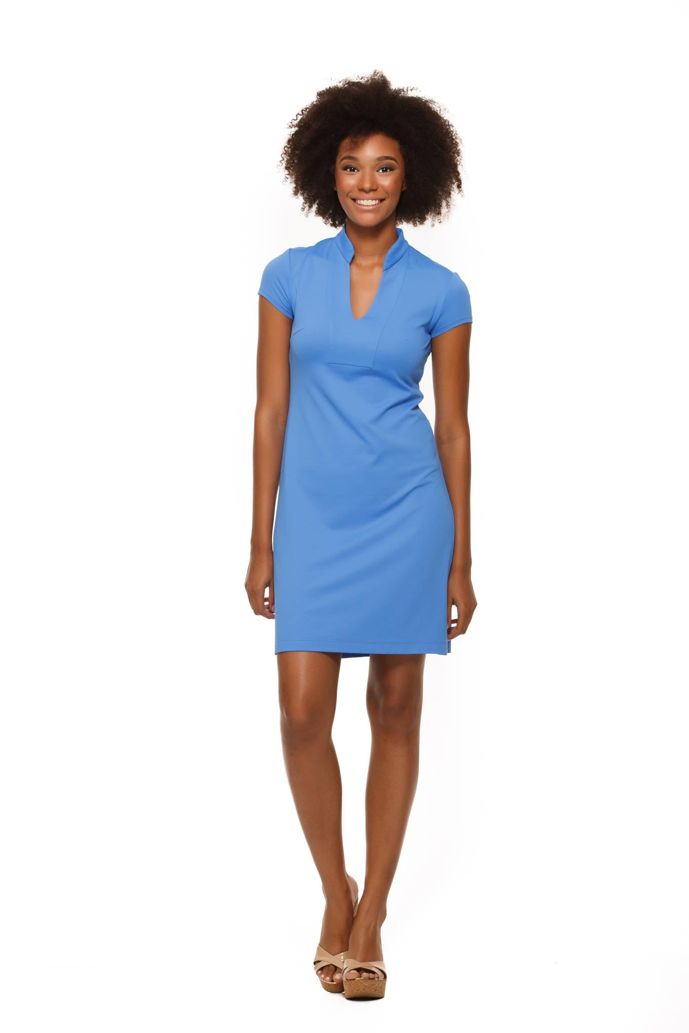 Parker Cap Sleeve Womens' Dress in Blue by Rulon Reed front view