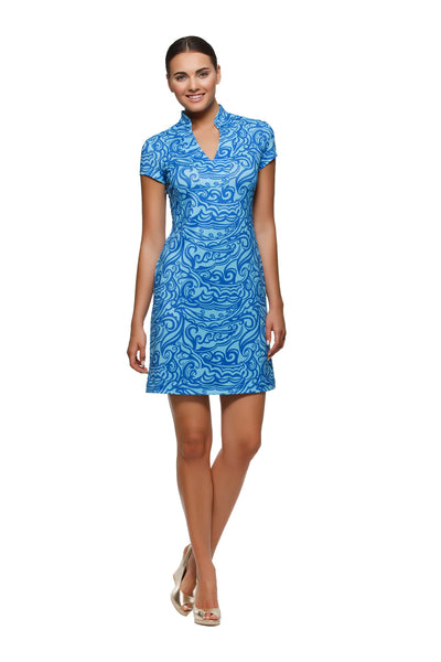 Parker womens cap sleeve v-neck dress in blue and aqua print by Rulon Reed front view