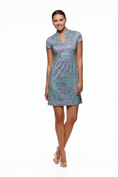 Parker womens cap sleeve v-neck dress in green and purple surf print by Rulon Reed front view