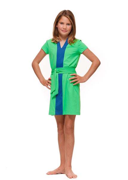Piper Girl's Colorblock Dress in Green and Navy Color Block