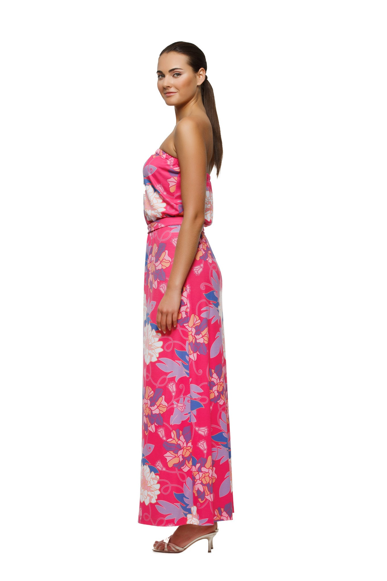 Remy Strapless Maxi Dress in Pink Hawaiian - Rulon Reed c3b8a13f1