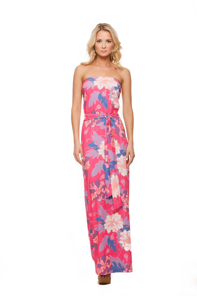 Remy strapless womens maxi in pink hawaiian print side view by Rulon Reed