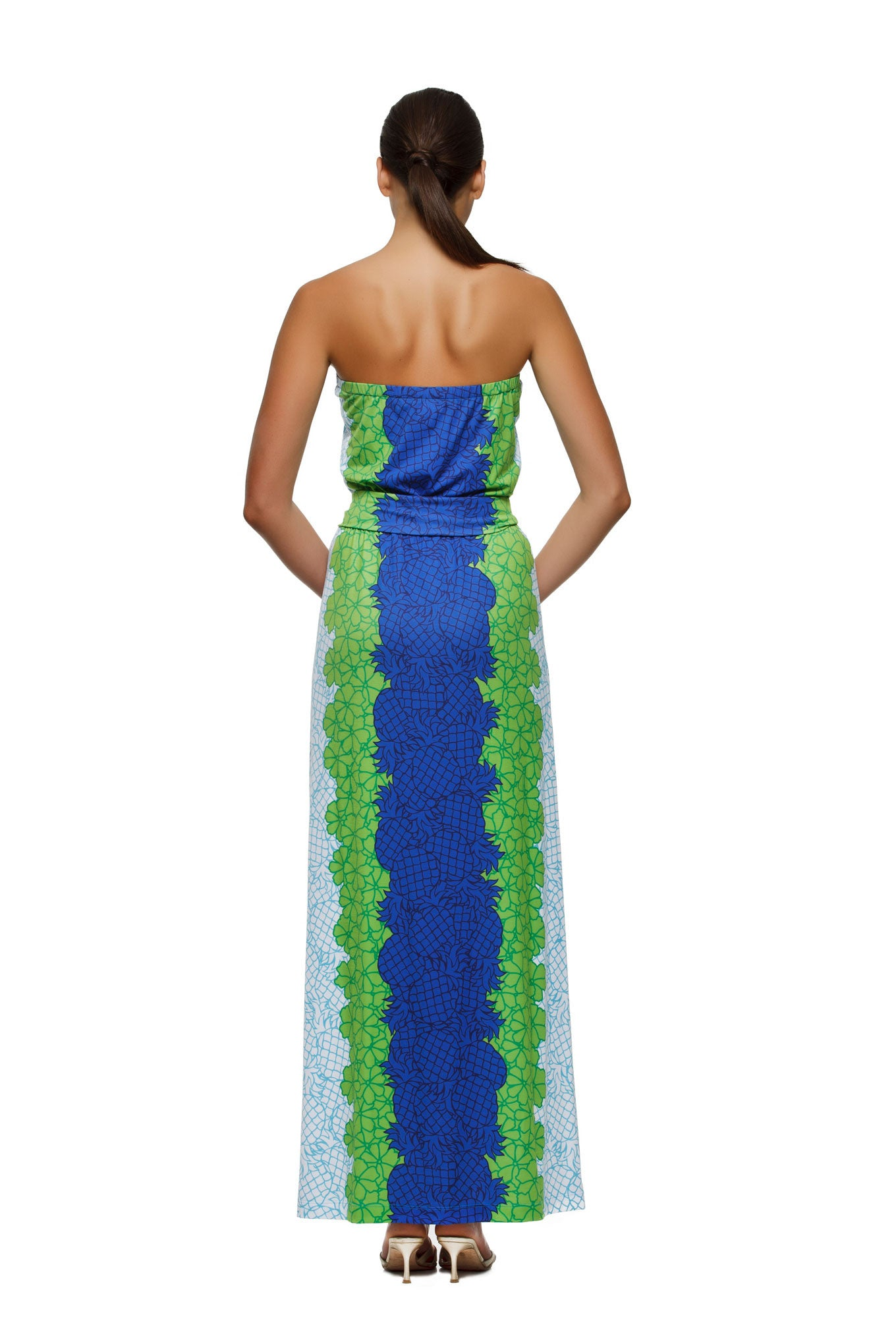 Remy womens strapless maxi dress with matching belt  in pineapple print by Rulon Reed rear view