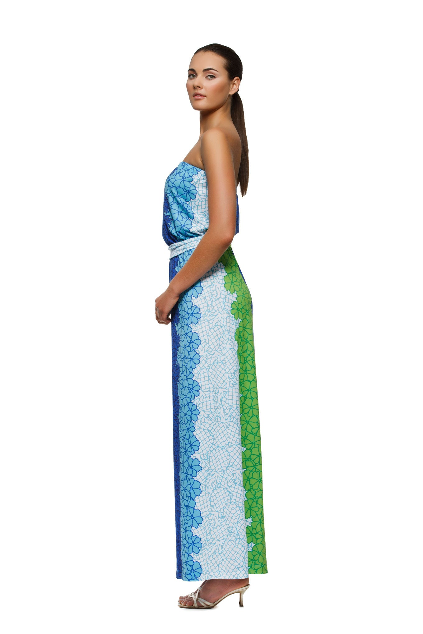 Remy womens strapless maxi dress with matching belt  in pineapple print by Rulon Reed side view