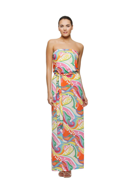 Remy womens strapless maxi dress with matching belt in wave print by Rulon Reed front view
