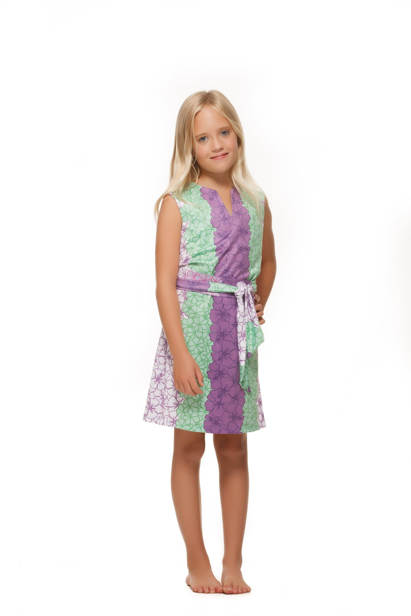 Heidi Dress in Purple and Green Hibiscus