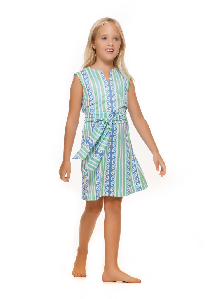 Heidi Dress in Green and Blue Scroll - Rulon Reed