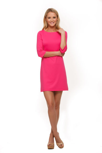 Pink Women's Dress with boat neck and 3/4-length sleeves