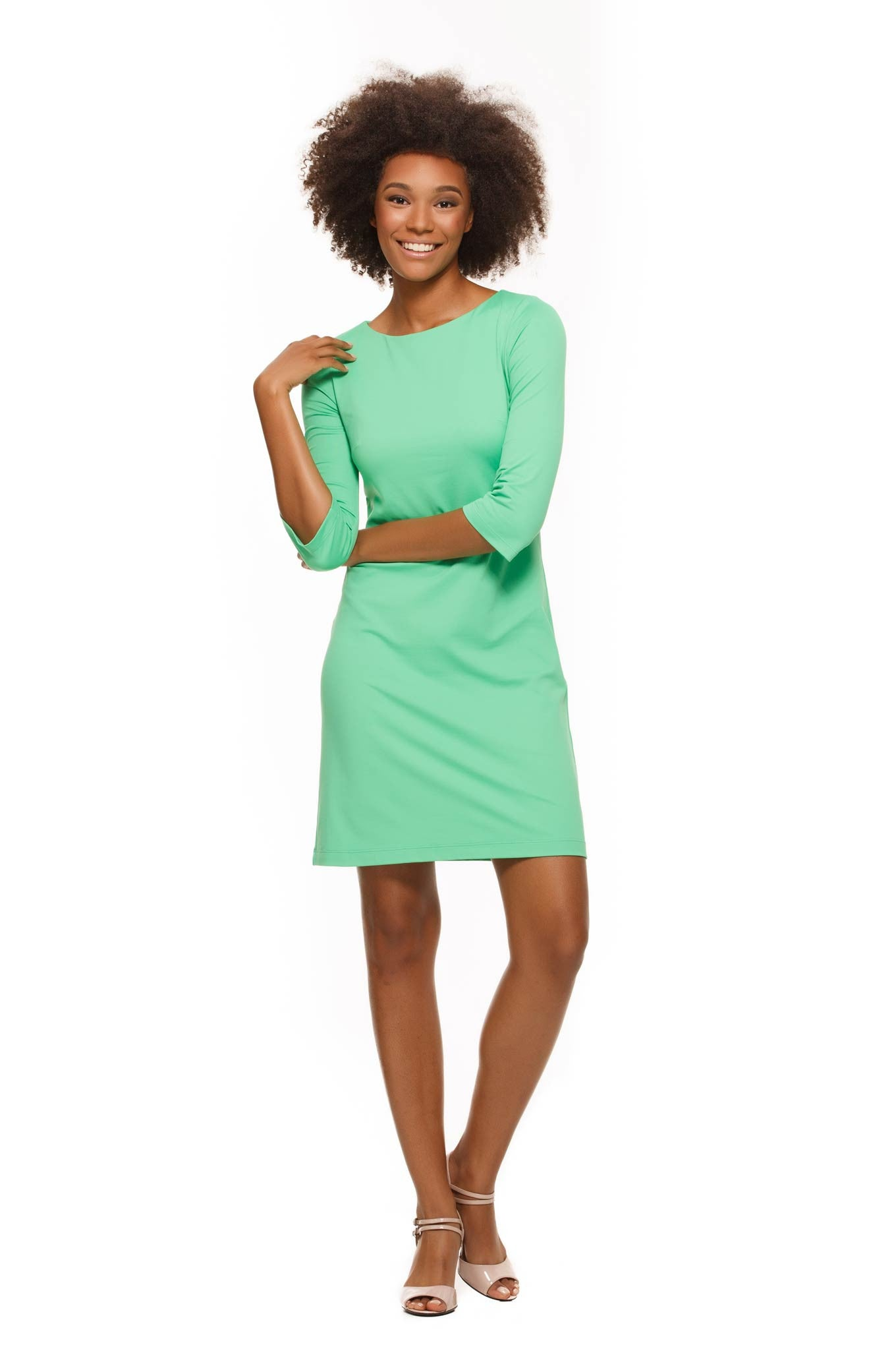 Skylar Three Quarter Sleeve Womens' Dress in Green by Rulon Reed front view