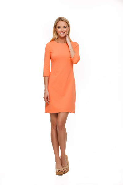 Skylar Three Quarter Sleeve Womens' Dress in Orange by Rulon Reed front view