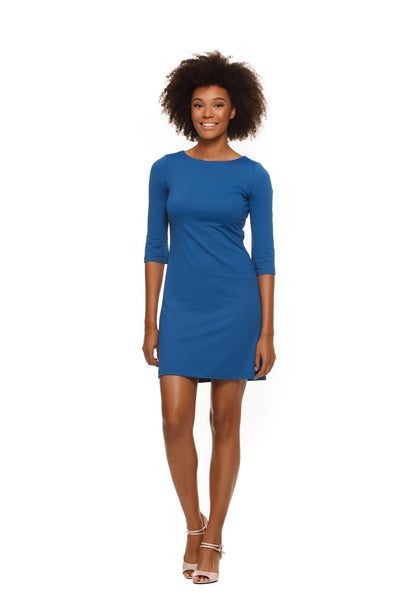 Skylar Three Quarter Sleeve Womens' Dress in Navy Blue by Rulon Reed front view