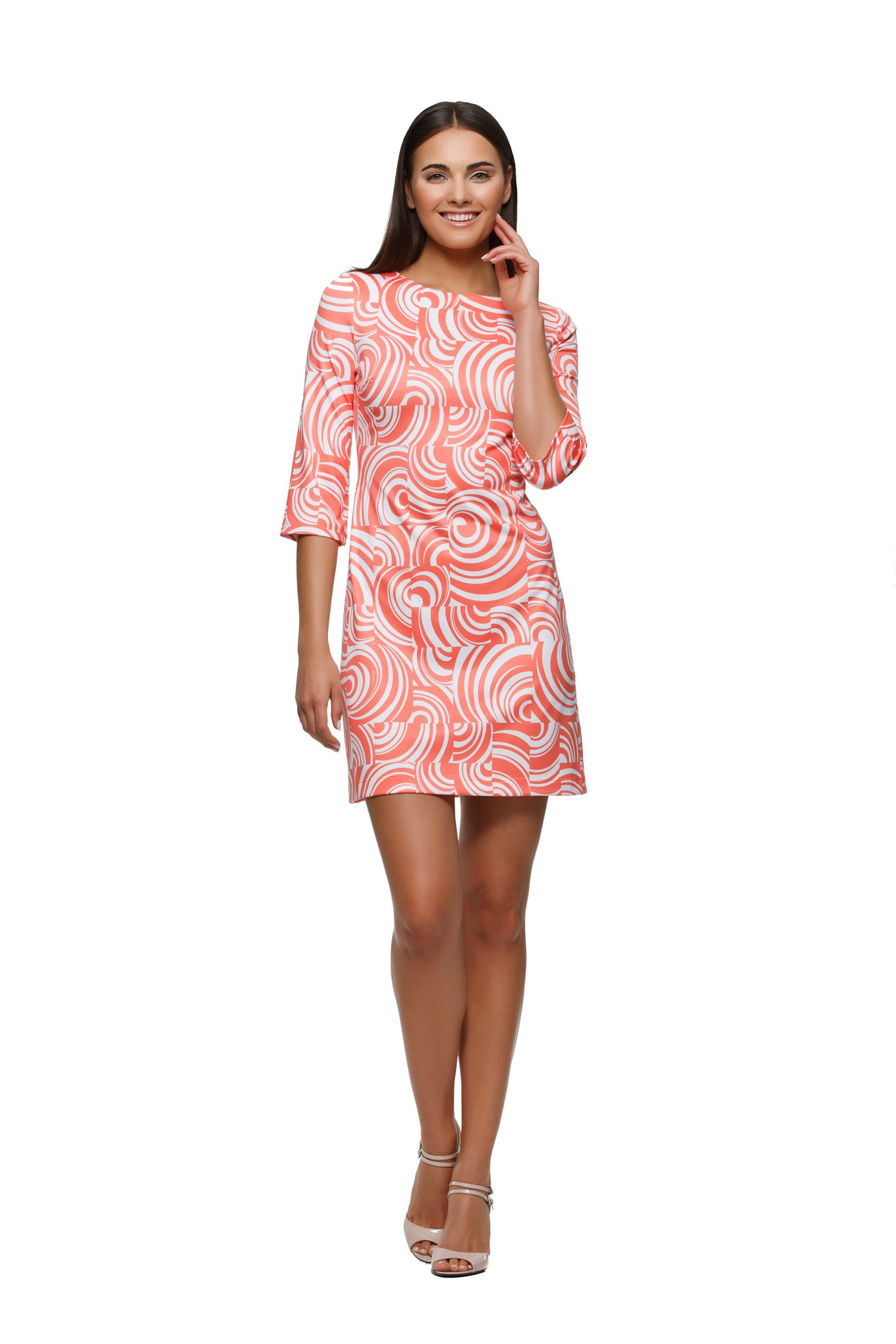 Skylar-womens-three-quarter-sleeve-boatneck-dress--in-orange-and-white-swirl-by-Rulon-Reed