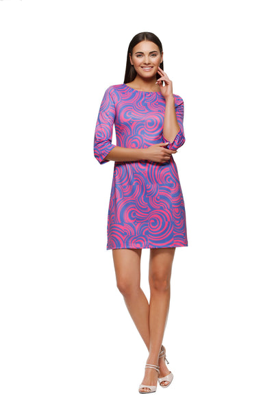 Skylar-womens-three-quarter-sleeve-boatneck-dress-in-pink-and-purple-swirl-by-Rulon-Reed