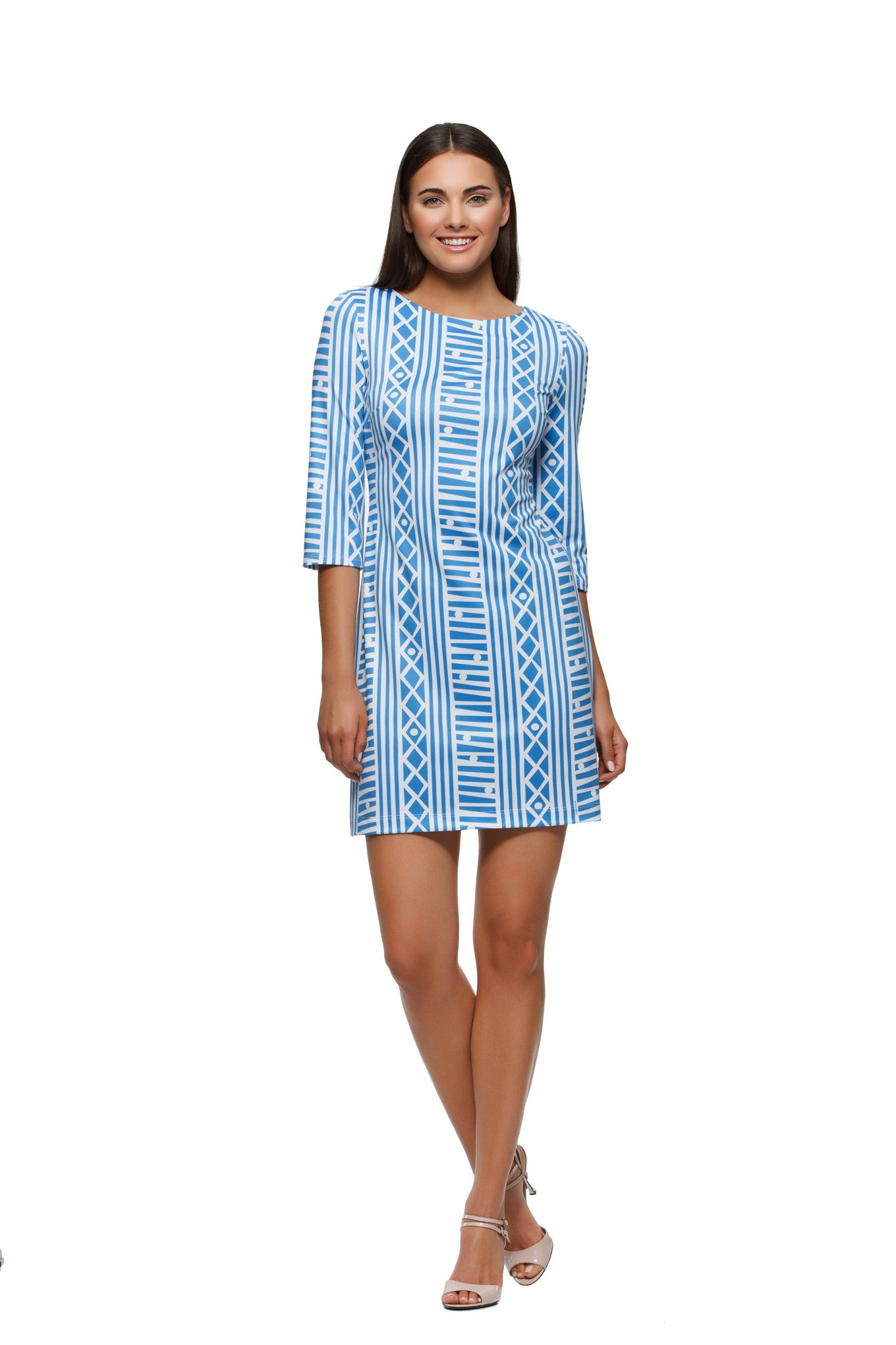 Skylar Dress in Blue and White Stripe - Rulon Reed