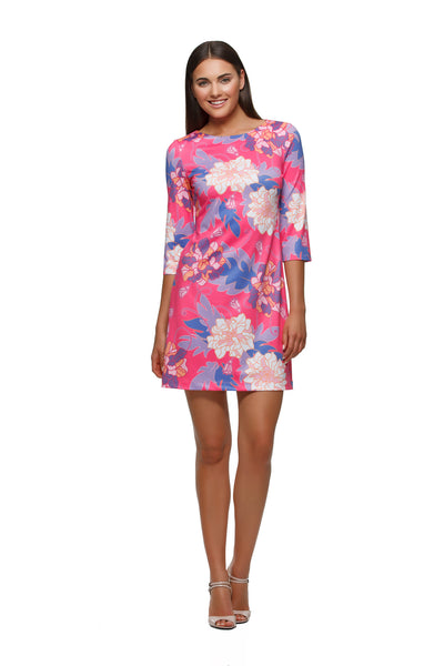 Skylar womens three quarter sleeve boatneck dress in pink Hawaiian by Rulon Reed front view