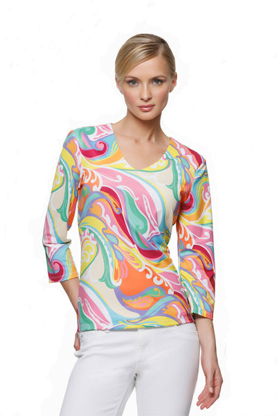 Thayer-womens-three-quarter-sleeve-v-neck-top-in-wave-by-Rulon-Reed-front-view