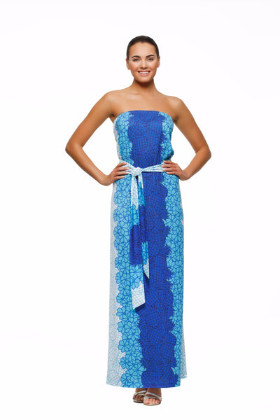 Remy womens strapless maxi dress with matching belt  in pineapple print by Rulon Reed front view