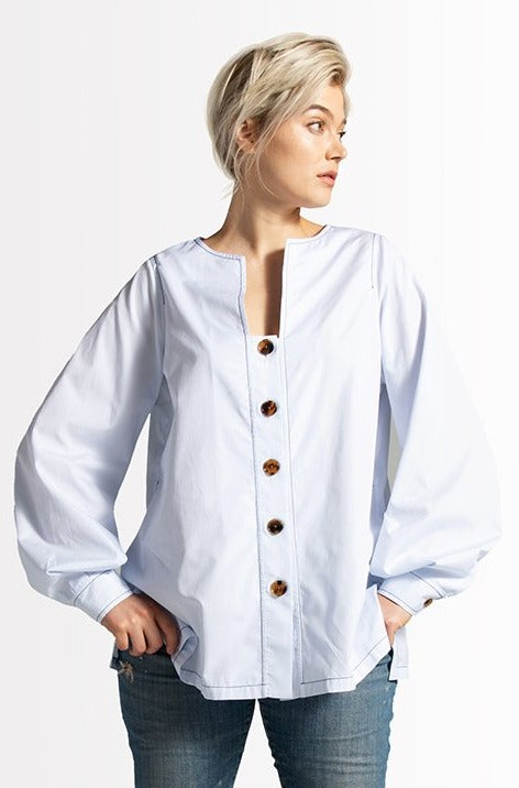 Emme Shadow Strip Shirt // Light Blue