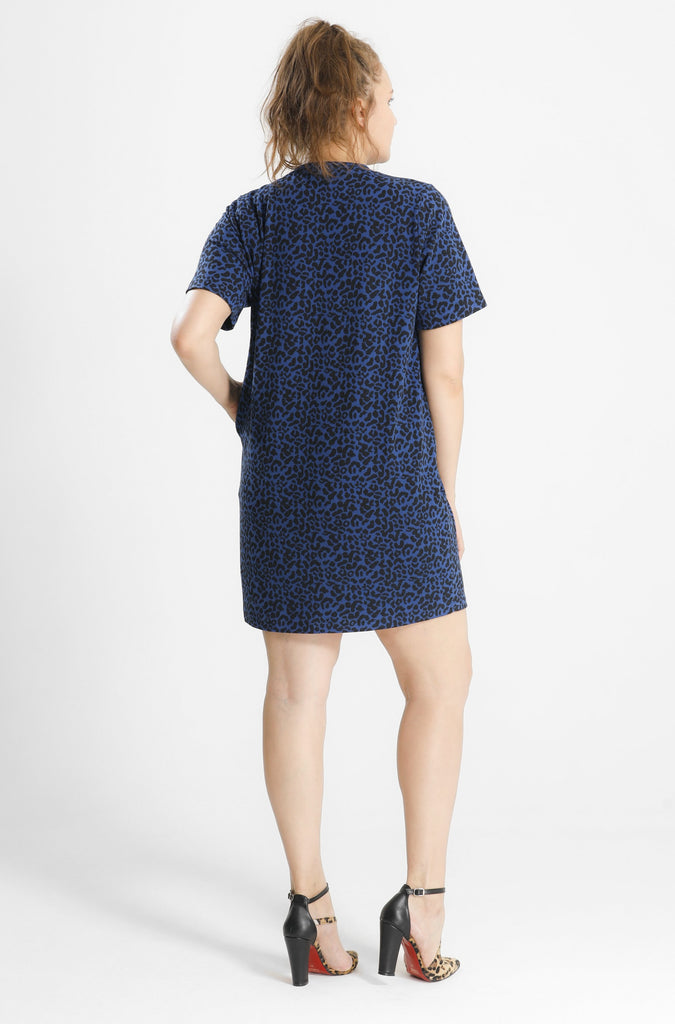 Eleny Blue Leopard Tee  Dress