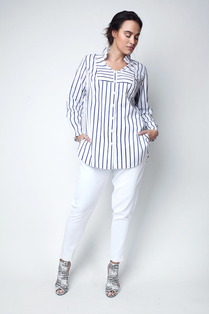 Plus size striped tuxedo shirt for voluptuous curvy ladies