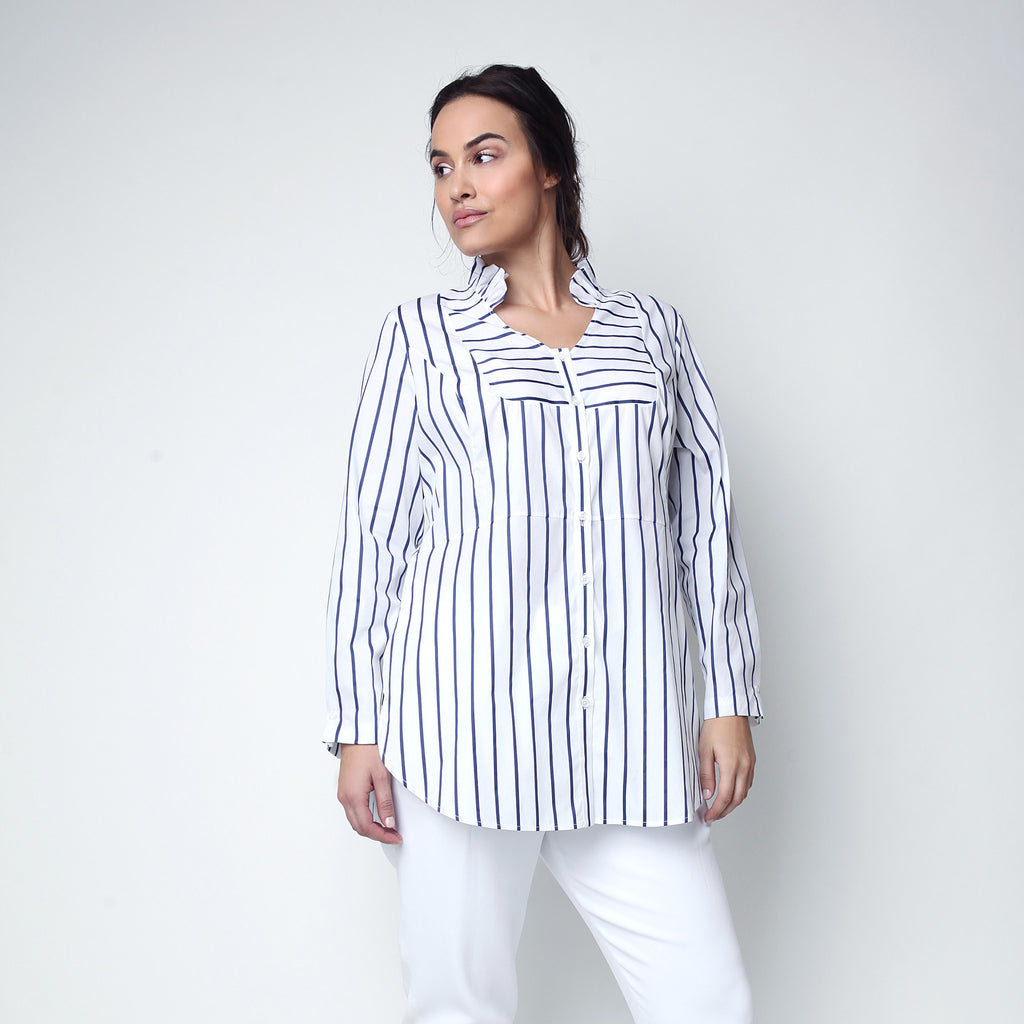 Ruffled Black and white striped Tuxedo Shirt for curvy plus size women