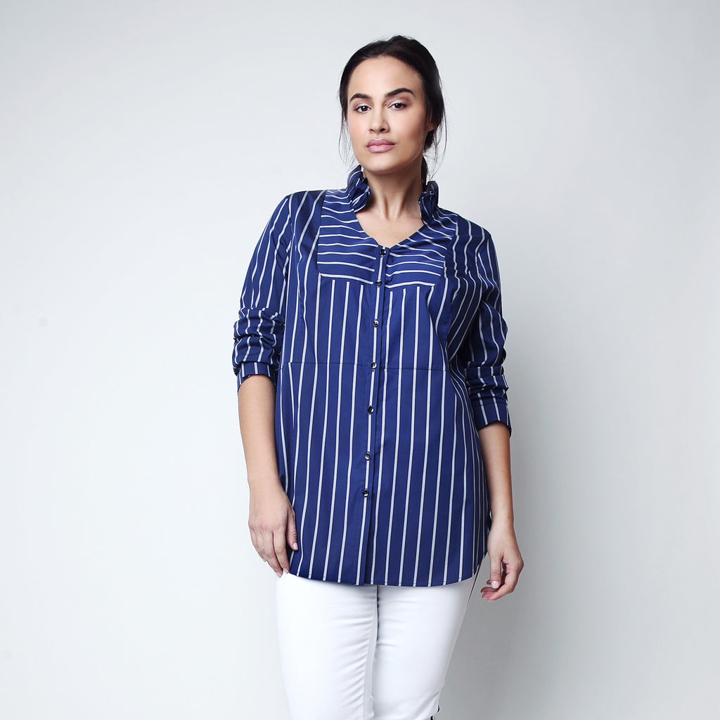 Ruffled striped tuxedo shirt for curvy ladies