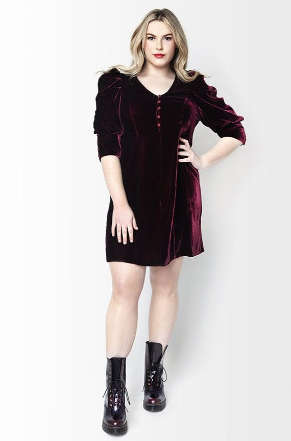 Kristal Velvet Dress // Bordeaux