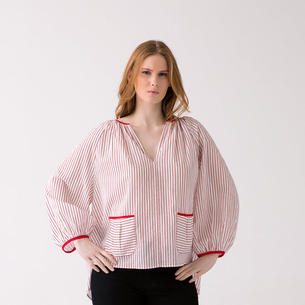 Scarlet Red/Ivory Stripes Easy pull on