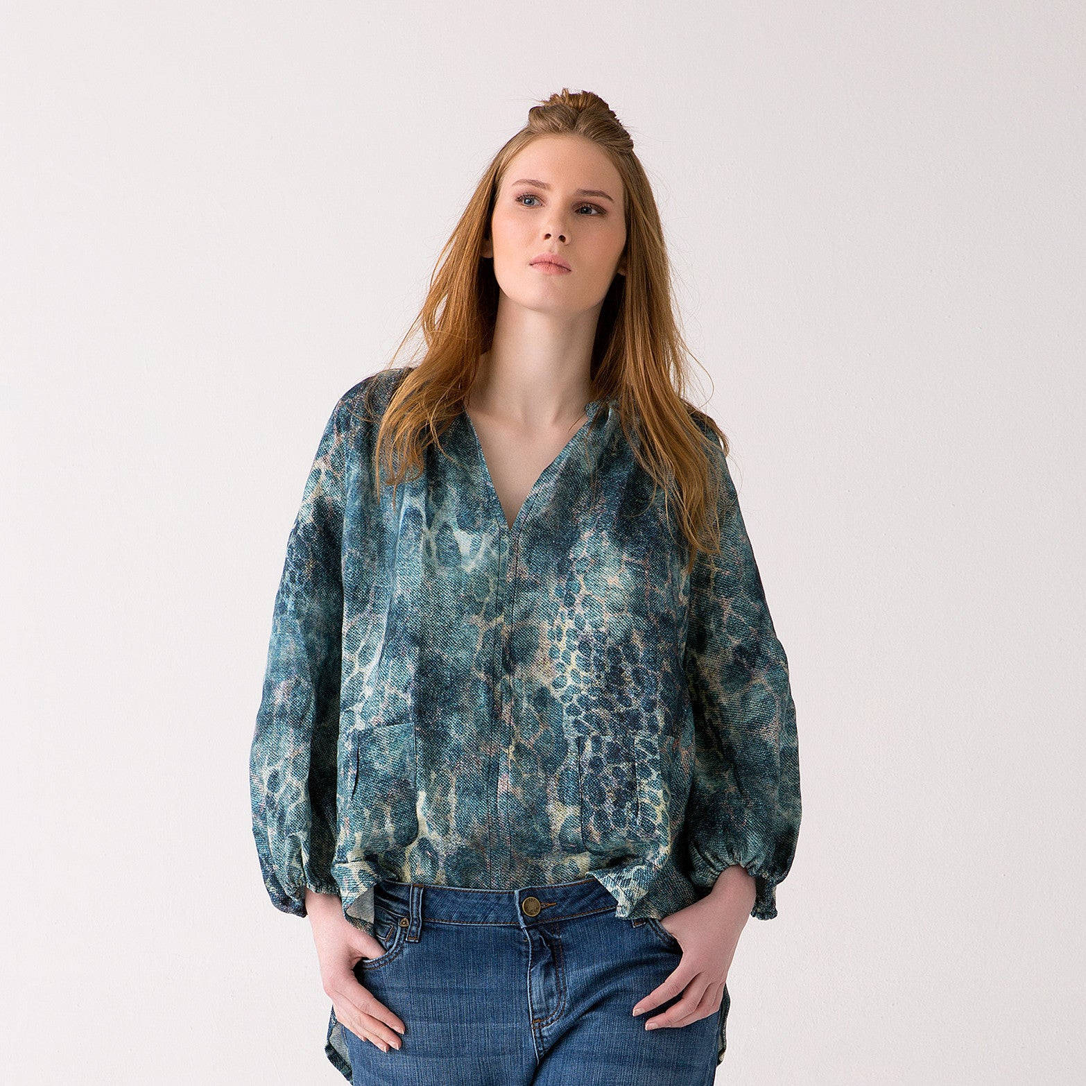 Plus Size Linen Printed Top for Women