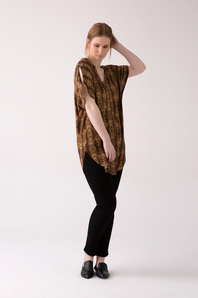 V-Neck Animal Print Tunic in Large Sizes