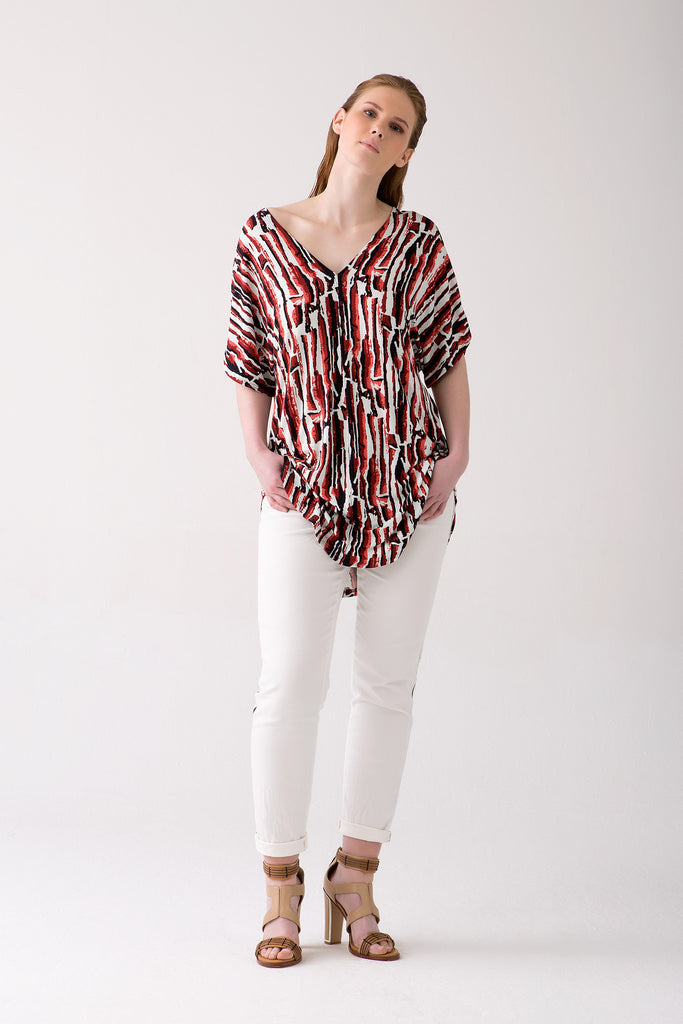 V-Neck Stylish Printed Tunic in Plus Sizes
