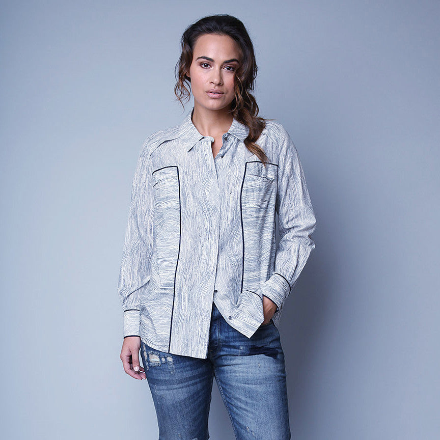 military style cotton shirt for plus size curvy women