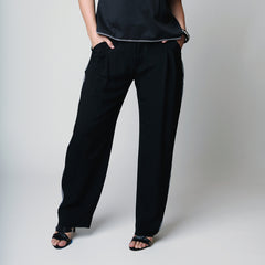 Plus size pleated front pants