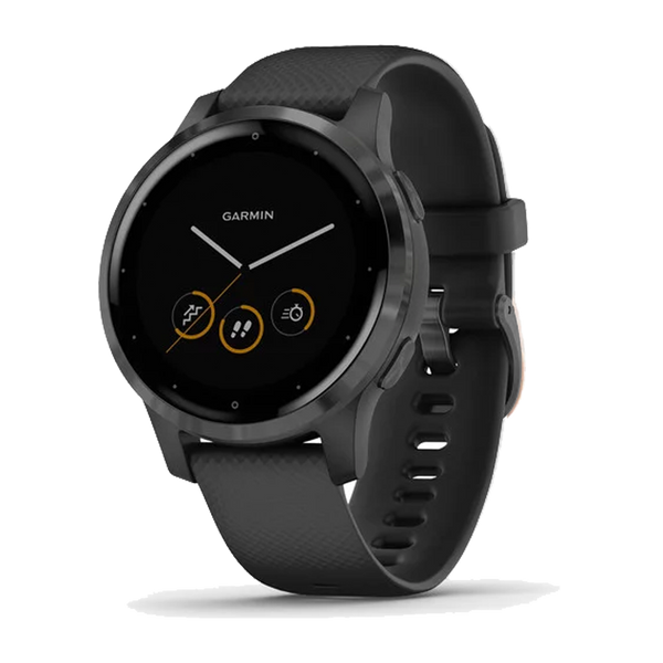 Garmin vivoactive 4S Slate Stainless Steel Bezel with Black Case and Silicone Band